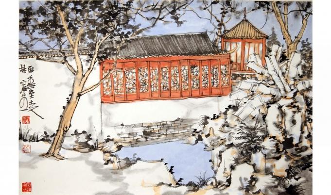 苏州园林写生 - 书画作品 - 杏坛美术馆